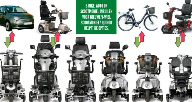 Inruilen gebruike e-bike, auto of oude scootmobiel kan bij Quingo. De opties.